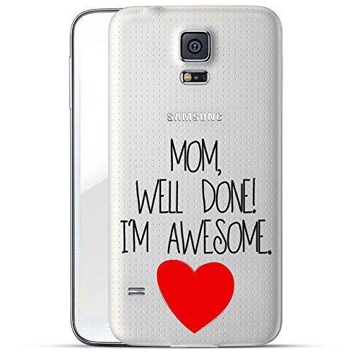 Finoo TPU Handyhülle für dein Samsung Galaxy S5 Made In Germany Hülle mit Motiv und Optimalen Schutz Silikon Tasche Case Cover Schutzhülle für Dein Samsung Galaxy S5-Mom Well Done