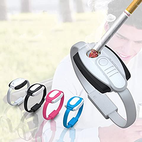 Libération [Nouveau] cjoy USB Briquet rechargeable électrique 2en 1Bracelet avec Banque d'alimentation et câble micro USB Android -