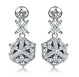KnSam Damen Platin Plattiert Durchbohrte Ohrringe Blume Cube Crystal Strass Edelstahl Piercing