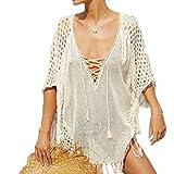 MuRstido Strandkleid Kleid Damen Gestrickte Bikini Cover-Ups Lange Strandponcho Quasten
