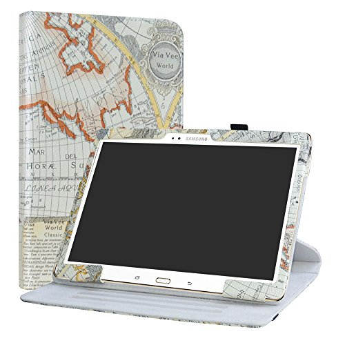Labanema Galaxy Tab S 10.5 Custodia, PU Caso Pelle Girevole 360°Rotante Cover Case per Samsung Galaxy Tab S 10.5 Pollice T800 T805 Tablet - Map White