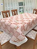 #6: Clasiko 6 Seater PVC Table Cover; White Tulips In Square On Pink Base; Anti Slip; 60x90 Inches; 6 Seater