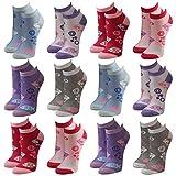 Lavazio 12 Paar modische Sneaker Socken Damen, Herren, Teenager schwarz, weiß, farbig, Größe:35-38, Farbe:12 Paar/Damen / No. 2034F