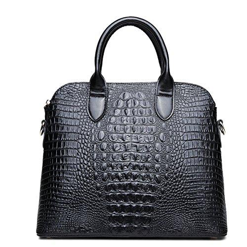 Mefly Shell Leder Handtasche Leder Tasche Damen Handtasche Schulter diagonal black