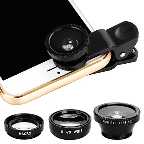 Handy Objektive, Colorful 3 in 1 Handy Kamera Objektiv Set Kit, MakroObjektiv + 0.67X Weitwinkel + 180 ° Fisheye Objektiv, für iPhone Samsung Smartphones & Tablet (Schwarz)