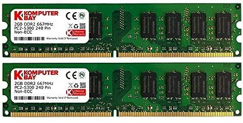 Komputerbay Mémoire RAM Lot de 2 barrettes de mémoire vive 240 broches PC2 5300 DDR2 DIMM 667 MHz 2 x 2 Go