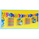 Hawaiian Style Tiki Garland W/ Flowers Hawaiian Party Decorations for Birthday/Celebration Accessories & Cups etc...