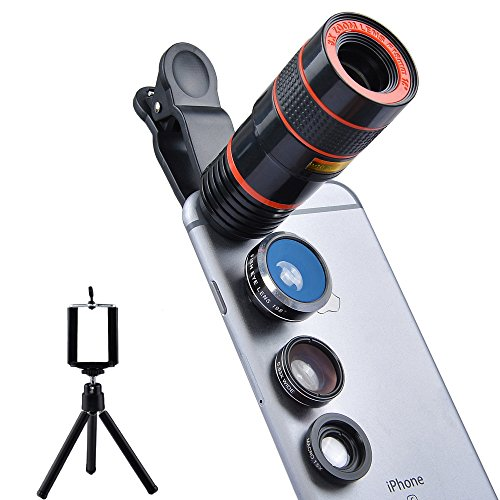Apexel 4 in 1 Camera Lens 8x Telephoto Lens+Fisheye+Wide Angle + Macro Lens for iPhone 7 6/6s plus,Smartphone & Tablets