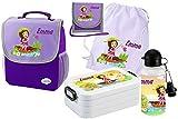 Mein Zwergenland Set 6 Kindergartenrucksack mit Brotdose, Turnbeutel aus Baumwolle, Trinkflasche und Brustbeutel Happy Knirps mit Name Mädchen, 5-teilig, Lila