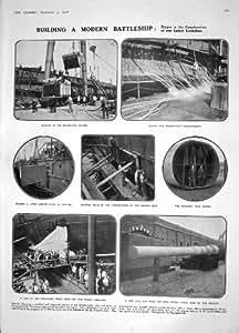 1908 THÉÂTRE DU NAVIRE GÉANT HARVEY DE VINCENT DE BATEAU DE GUERRE DE BATAILLE