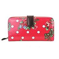 Miss Lulu Womens Oilcloth Purse Wallet Floral Dot Plum L1109F PM