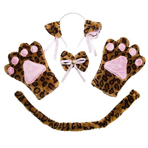 ECOMBOS Katzen Kostüm Zubehör - Katzenohren, Fliege, cosplay für katzen Tierkostüm Adorable Party Kostüm Zubehör Cosplay Halloween Mädchen Damen Mädchen und Kinde (Rosa Leopard Kind Kostüm)