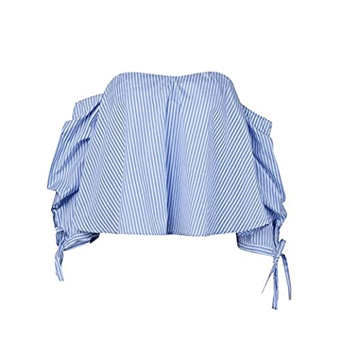 Women Vest Jimmkey Summer Stripe Tee Shirt Off Shoulder Puff Sleeve Blouse Casual Tops (S)