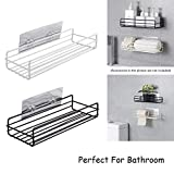 Zurato Durable Metal Shower Bathroom Shelf Storage Wall Mounted Durable Shower Caddy Organizer Rack for Kitchen Toilet Shower Dorm with Adhesive Hook - 1 Pack
