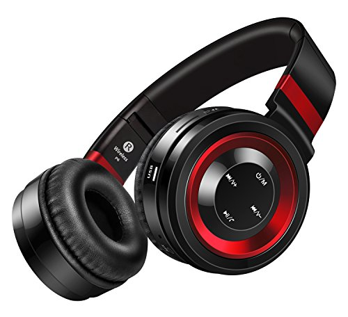 Sound Intone P6 Bluetooth 4.0 cuffie stereo, Hi-Fi con cancellazione del rumore In Ear auricolare senza fili, con configurazione in microfono e controllo del volume, è dotato di cavo audio, compatibile con la maggior Cellulari / PC / TV / iPhone / Samsung / Laptop (Nero/Rosso) - Pulsanti Turtle