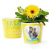 2.Hochzeitstag Geschenk – Blumentopf (ø16cm) | Geschenke zur Baumwollhochzeit für Mann oder Frau mit Herz Bilderrahmen für 1 Foto (10x15cm) | Glücklich Verheiratet - 2 Jahre