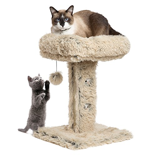 Moderne Kitty Handarbeit Katze Post Liege W/Kratzern Oberfläche in Shag, 40,6x 40,6x - Shag Fell