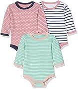 Care Baby - Mädchen Langarm-Body im 3er Pack, Mehrfarbig (Rose 534), 3 Monate (Herstellergröße: 62)