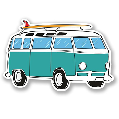 2 x CamperVan Vinyl Sticker Decal Laptop VW Camper Car Surf Surfer Beach#5640 10  cm ancho x 6,5  cm alto como se muestra