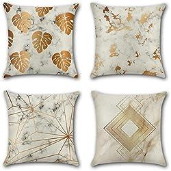 Artscope Lot de 4 Housse de Coussin 45 x 45 cm Coton et Lin Décoratif Taie d'oreiller de Voiture Canapé Maison Décor Housses de Coussin (Marbre Estampage à Chaud Or)