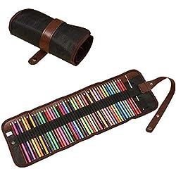Juego de lápices de colores para niños de 36 piezas con bolsa de lona en rollo Juego de lápices colores solubles en agua de calidad artística Juego de lápices y estuches de acuarela de Student Vivid