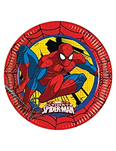 Procos 86668 - Platos de papel de Spider-Man: Ultimate Power de 23 cm de diámetro, color rojo, amarillo y azul, 8 unidades