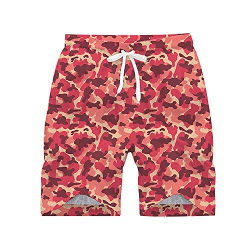 Herren Sport Beach Hose Elastische Sporthosen mit Slim fit Schnitt Besonders weich und bequem Ideale Männer Kurze Hose,Schnelltrocknende Strandhose mit Camouflage-Print 2 XXXL -