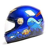 ZXW casco- Formato regolabile della ragazza del ragazzo di stagioni del ragazzo del fumetto di goccia della bicicletta della bicicletta elettrica del casco dei bambini (Colore : Blu)