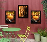#6: TiedRibbons Lord Buddha Framed paintings for home decoration Set of 3 (13.6 inch X 10.2 inch)