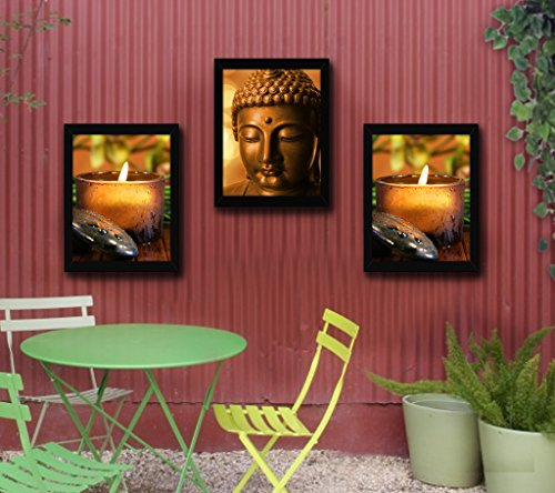 TiedRibbons Lord Buddha Framed paintings for home decoration Set of 3 (13.6 inch X 10.2 inch)