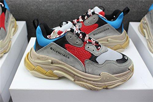 511eb9768b9a TOPSHOD Unisex Mens Womens Balenciaga Triple S Sneakers Grey Red Blue Yellow