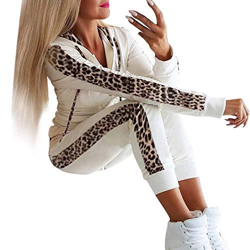 TUDUZ-Damen Hosen und Top Sets Jogginganzug Jumpsuit Langarm Kapuzepullover mit Reißverschluss Sportanzug Trainingsanzug Sweatshirt bequem und sportlich (38, Weiß)