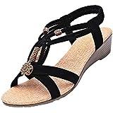Minetom Women Bohemian Beads Comfort Design Peep Toe Sandals Flat & Slim Sole Sandals