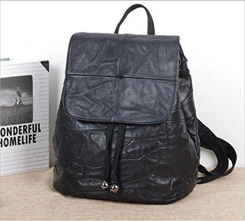 FEN Sacs à main en cuir noir casual doux cousu à la main caractéristiques sac à dos sac à dos