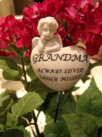Grandma Always Loved sadly missed Memorial Cherub heart on a stick - Ideal for in plant pot , flower arrangement or grave