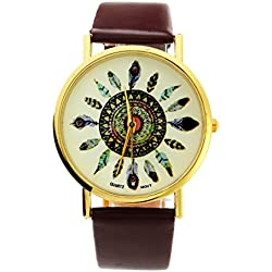 GSPStyle Peacock Feather Tail Style Fashion Strap Wrist Watch Analog Quartz Synthetic Leather - Brown