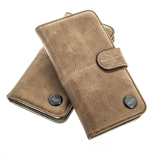 Black Magic Wallet (QIOTTI > SAMSUNG GALAXY A3 (2015) < incl. PANZERGLAS H9 HD+ Booklet Wallet Case Hülle Premium Tasche aus echtem Kalbsleder mit KARTENFÄCHER. SMART KOLLEKTION (BRAUN))