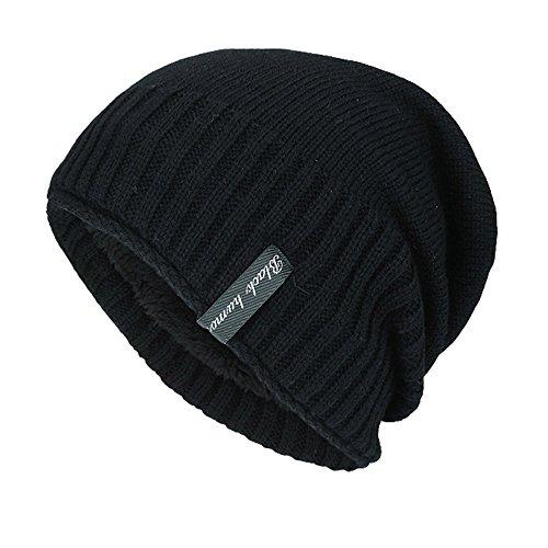 TEBAISE Warme Einfarbig Feinstrick Beanie Mütze mit Flecht Muster und Sehr Weichem Fleece...