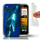 Stuff4 Coque Gel TPU de Coque pour HTC Desire X/Grand Requin Blanc Design/Faune...
