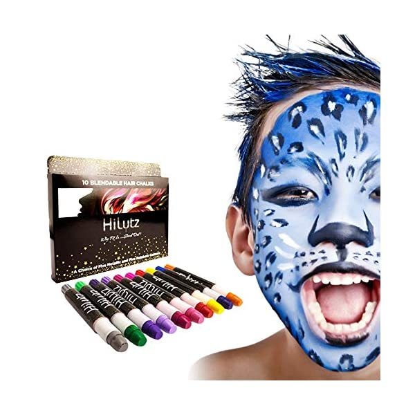 Hilytz Pintura Facial/ Tizas Para el Pelo Hair Chalk 10 Metallic Glitter Pens, Fácil de Lavar No toxico/ Comb + 3…