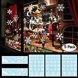 Howaf Natale Vetrofanie, 144 Pezzi Rimovibile Natale Vetrofanie Adesivi Murali Fai da Te Finestra Vetri Casa Natale Decorazione Fiocco di Neve Adesivo Cervo di Natale Babbo