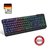 KLIM™ Chroma Wireless Gaming Tastatur - Gamer Keyboard LED Beleuchtete QWERTZ DEUTSCH - Hohe Leistung - Bunte Beleuchtung RGB