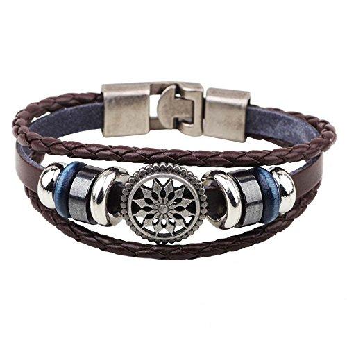 MJARTORIA Unisex Bracelet de Main Menotte Tibétain Fait Main Tressé Multirang Enveloppez Enrouler Vintage Cuir Artificiel (Soleil)