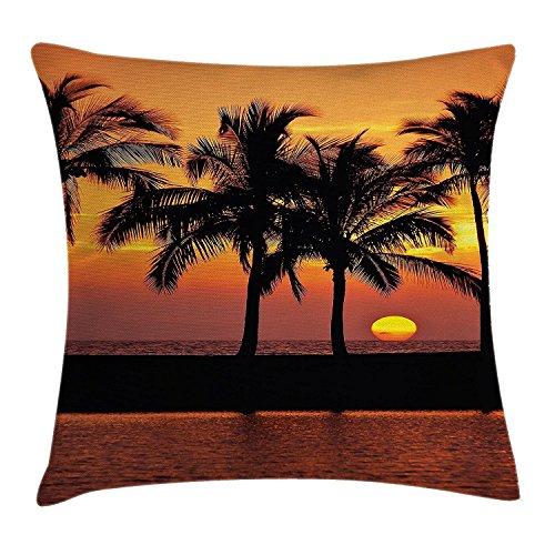 Palm Tree Decor Werfen Kissenbezug, Karibik Horizon Dusk Zeit romantische Peaceful Coastal Charme Scenery, dekorative quadratisch Accent Kissen Fall, 45,7x 45,7cm, orange schwarz