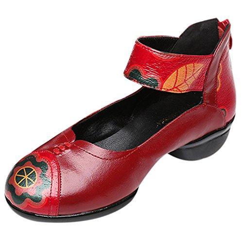 Oasap Damen Chinesischer Stil Echtleder Tanzschuhe Red