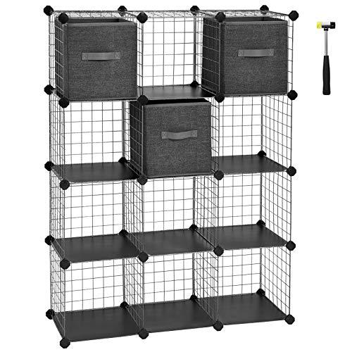SONGMICS Würfelregal aus Maschendraht, 12 Würfel mit 3 Stoffboxen, ineinandergreifendes Regalsystem, Organizer für Kleidung, Schuhe, Bücher, Wohnzimmer, Schlafzimmer, schwarz gesprenkelt LPI34BK - Würfel 3