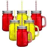 6 Stück Trinkbecher mit Deckel und Strohhalm aus Glas - Trinkglas in Vintage - Retro - Cocktailglas Füllmenge : 450ml / Rot Gelb