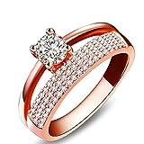 WSSVAN Anillo de venta caliente, Oro rosa de la moda y anillo de...