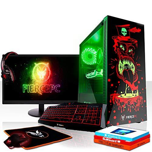 Fierce Brawler RGB Gaming PC Bundeln - Schnell 3.6GHz Quad-Core Intel Core i3 8100, 1TB HDD, 16GB 2666MHz, AMD Radeon RX 550 2GB, Windows 10, Tastatur (QWERTZ), Maus, 24-Zoll-Monitor, Headset 1014754