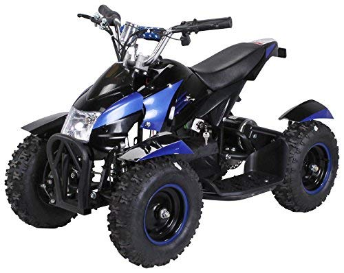 Actionbikes Motors Mini Kinder Elektro Quad ATV Cobra 800 Watt 36 V Pocket Quad - Original Saftey Touch - Kinder E Bike (Schwarz/Blau) - Helm Blau Atv Kinder